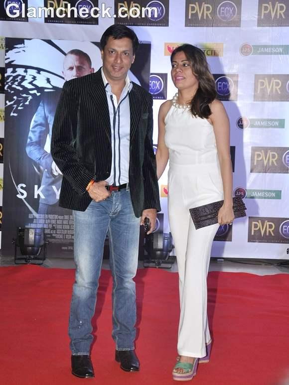 Madhur Bhandarkar with his wife Renu Namboodiri Skyfall Mumbai Premiere