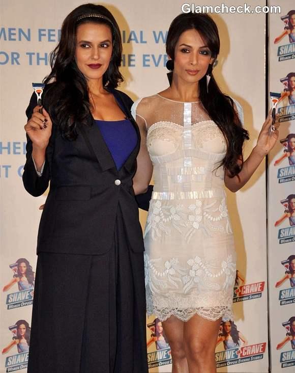 Neha Dhupia Malaika Arora Khan endorse Gillette Shave or Crave Event