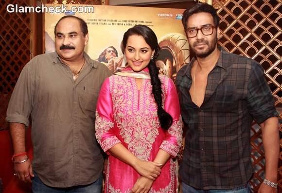 Sonakshi Sinha Ajay Devgan promote Son of Sardar in New Delhi