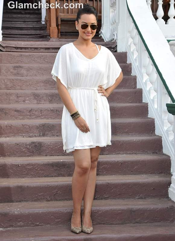Sonakshi Sinha in Little White Dress at the Races