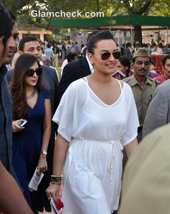 Sonakshi Sinha short White Dress at the Races