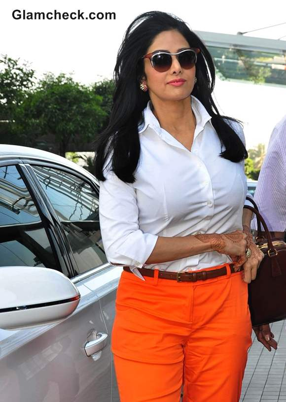 Sridevi orange pants at the 100th Porsche SUV Cayenne Diesel Car Home