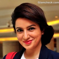 Tisca Chopra side-swept bun hairstyle how
