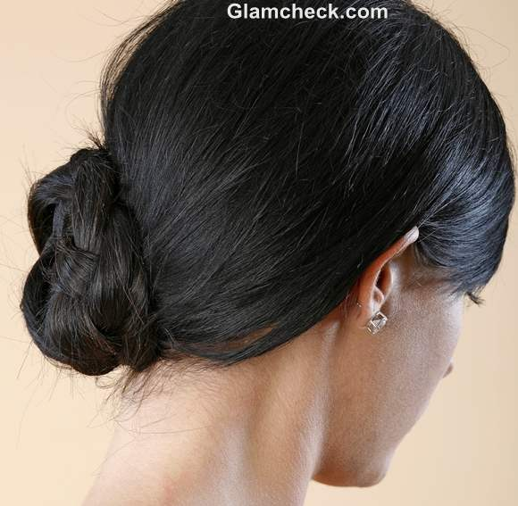 braided side bun Indian hairstyle how to