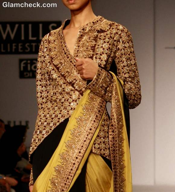 wearing Jacket with traditional Sari indian style