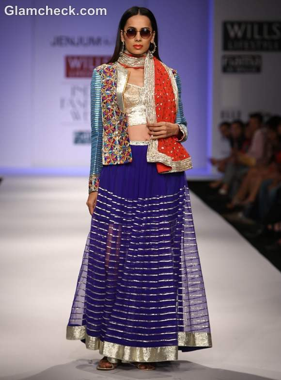 wearing embellished Jacket with lehenga choli