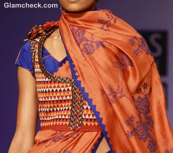 wearing embroidered jackets with printed sari