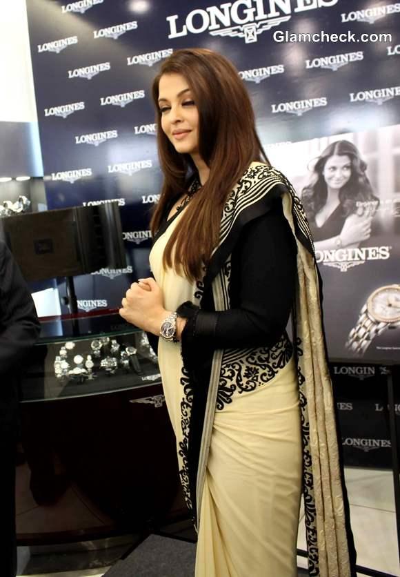 Aishwarya Rai in sari launches Longines Boutique in Hyderabad