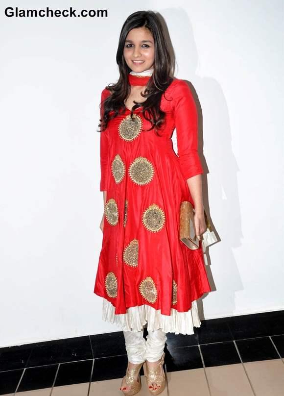 Alia Bhatt 2012 In red anarkali dress