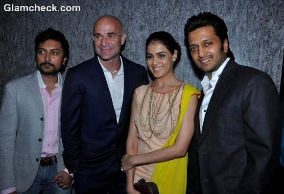 Andre Agassi with bollywood actors Ritesh Genelia Deshmukh