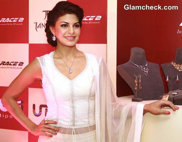 Jacqueline Fernandez in pristine white for Tanishq launch of new Collection
