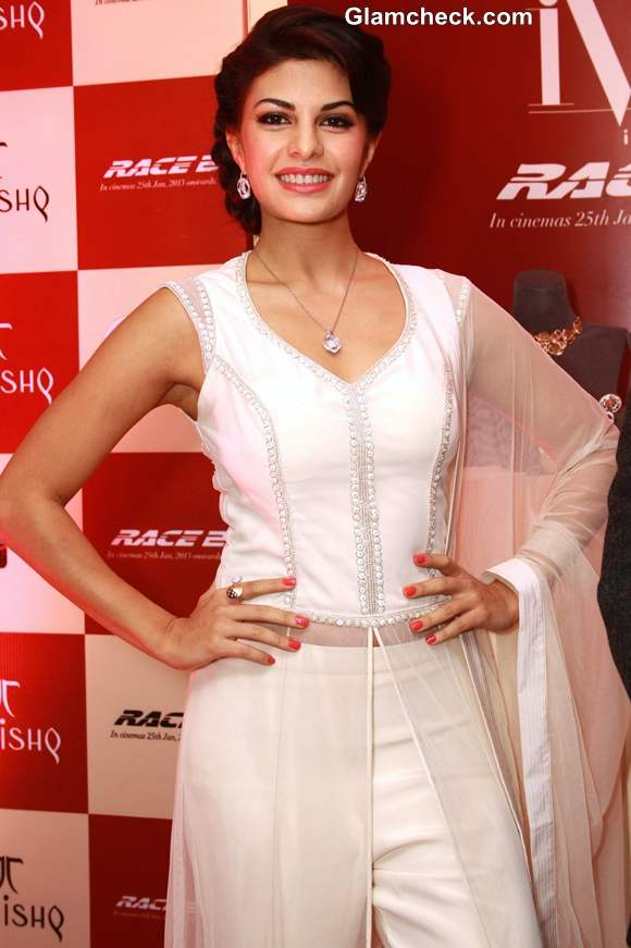 Jacqueline Fernandez  in white outfit at Tanishq  new Collection launch