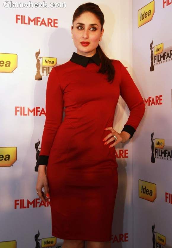 Kareena Kapoor ASOS Red Dress at 58th annual Filmfare awards press meet