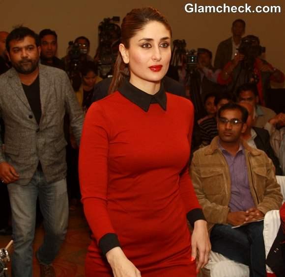 Kareena Kapoor at 58th annual Filmfare awards press meet in ASOS Red Dress