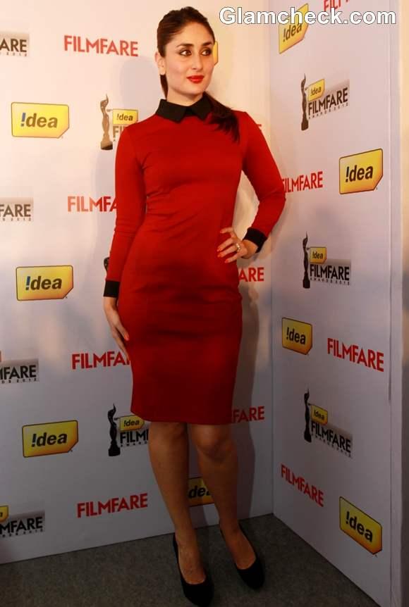 Kareena Kapoor  in ASOS Red Dress at 58th annual Filmfare awards press meet