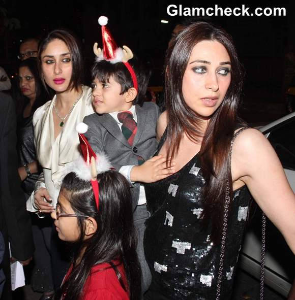 Karisma kapoor with daughter and son at Midnight Mass on Christmas Eve at St Andrews Church