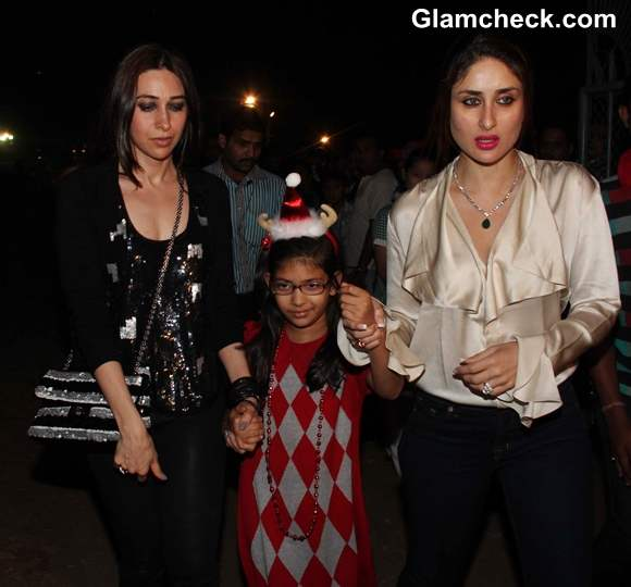 Karisma with daughter samaira and kareena kapoor Midnight Mass on Christmas Eve at St Andrews Church