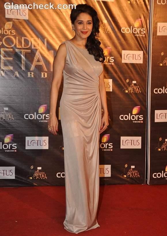 Madhuri Dixit Nene in Grey Gown at Colors Petals Awards 2012