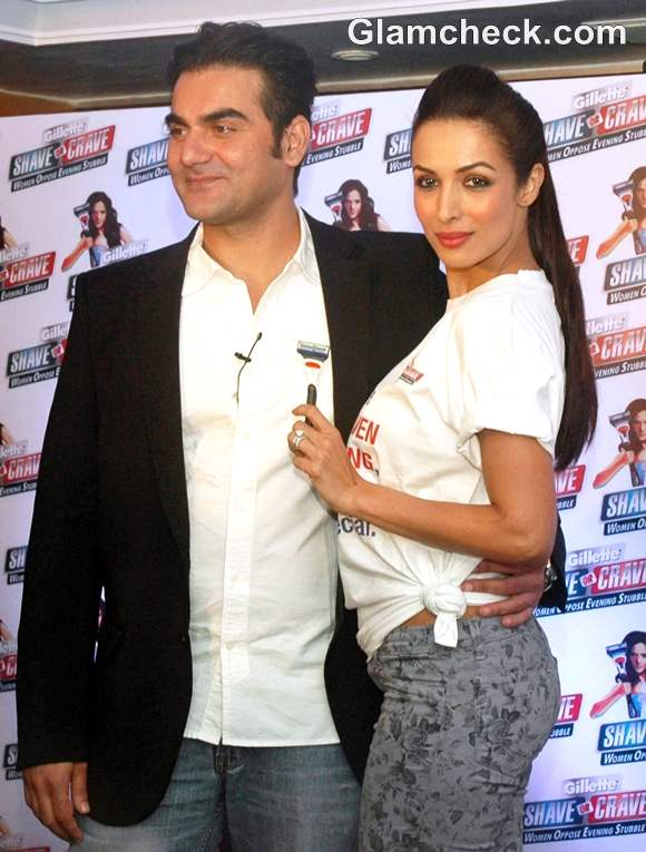Malaika Arora Khan with Arbaaz Khan Gillete launch Shave or Crave