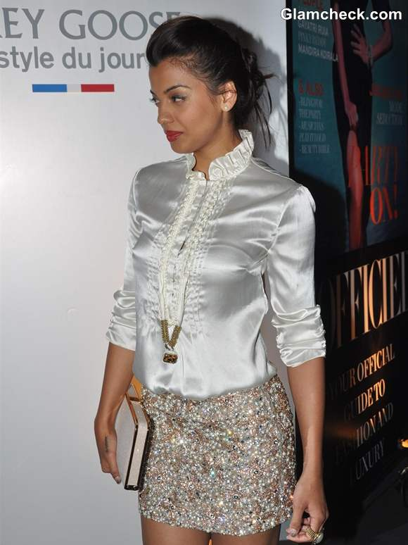 Mugdha Godse in Sequinned Mini Skirt at Grey Goose Style Du Jour Event