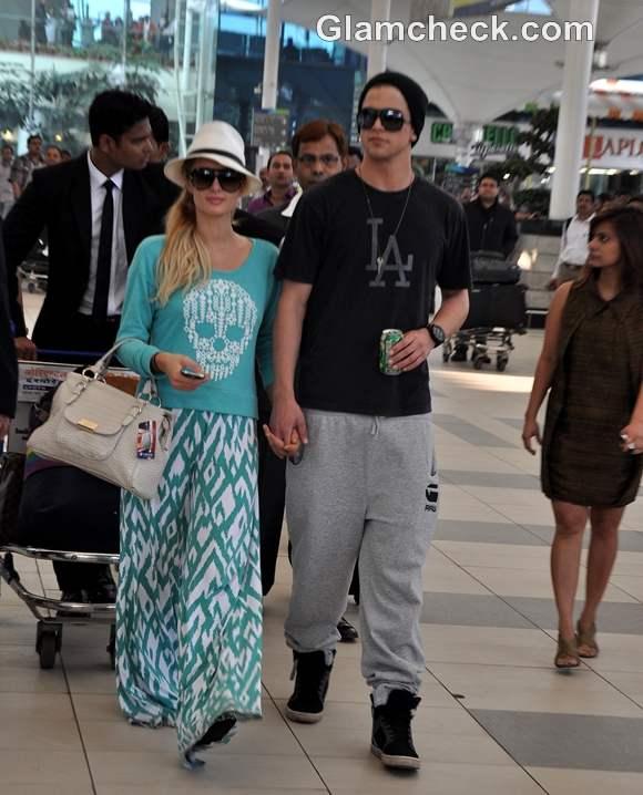 Paris Hilton Arrives in Mumbai with Model River Viiperi