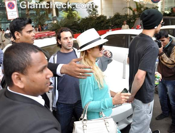 Paris Hilton in Mumbai with Model River Viiperi