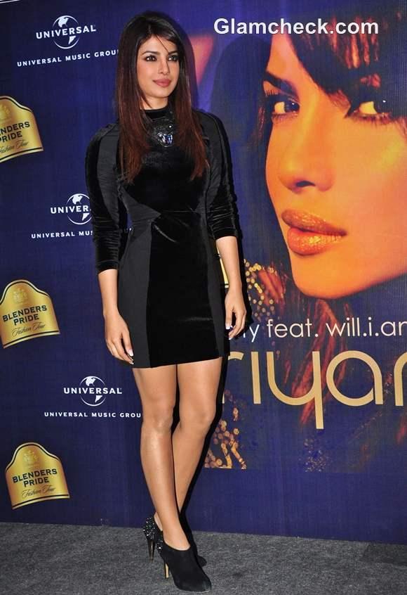 Priyanka Chopra little black dress Blenders Pride Fashion Tour Press Conference In Mumbai