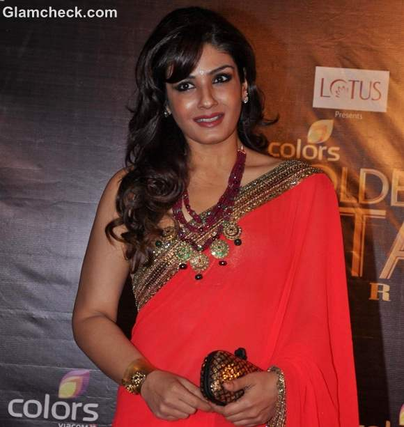 Raveena Tandon Saree at Colors Golden Petal Awards 2012