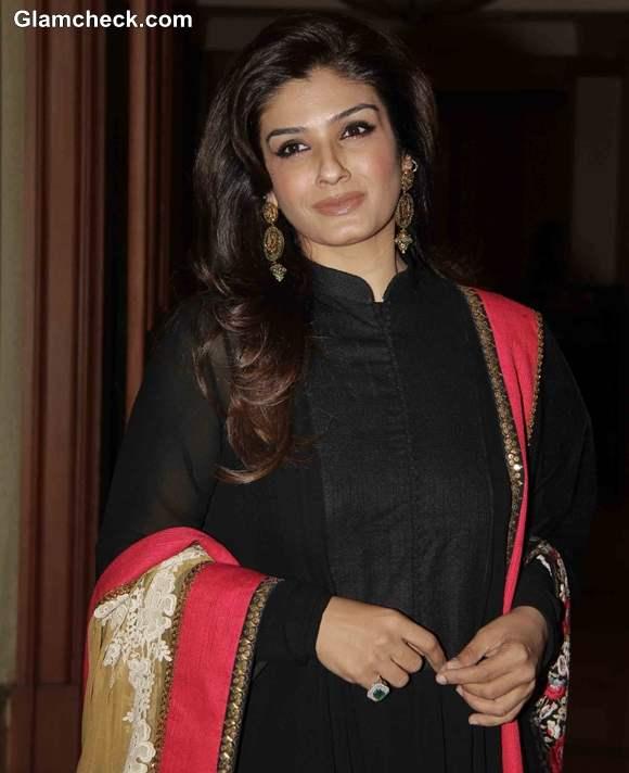 Raveena Tandon launches cancer detection kit in Sabyasachi dress