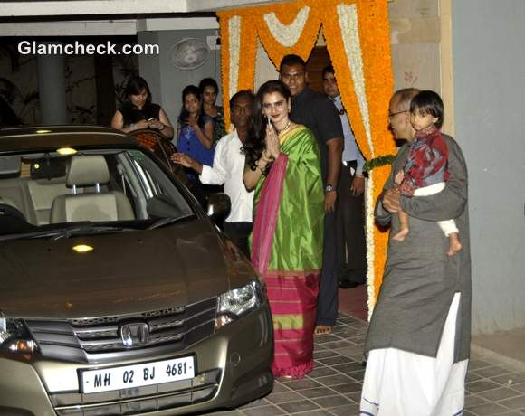 Rekha at Vidya Balans Mehndi ceremony in Mumbai