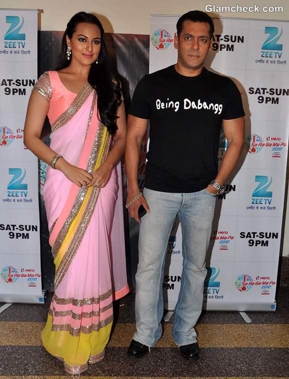 Sonakshi Sinha salman khan at sa re ga ma pa promote dabangg 2
