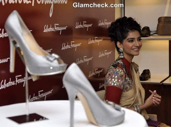 Sonam Kapoor silver Salvatores Ferragamo Shoe