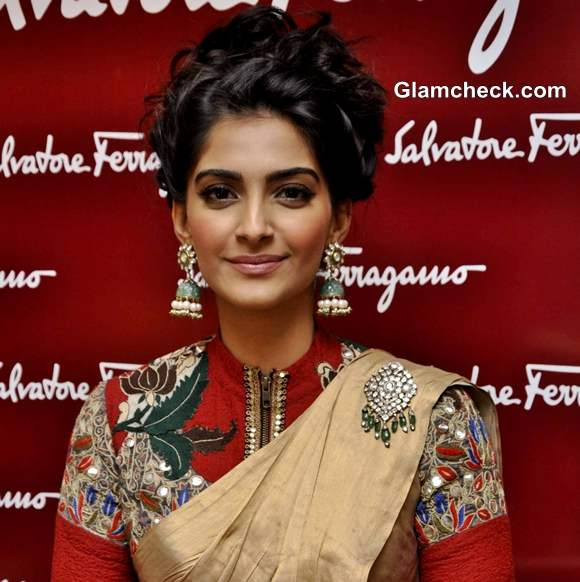 Sonam Kapoor traditional hairstyle makeup