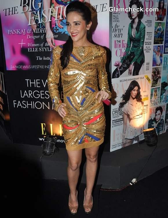 Tara Sharma In Pia Pauro golden dress At Grey Goose Style Du Jour In Mumbai