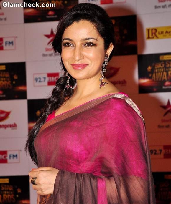 Tisca Chopra in sari side braid at BIG Star Entertainment Awards 2012