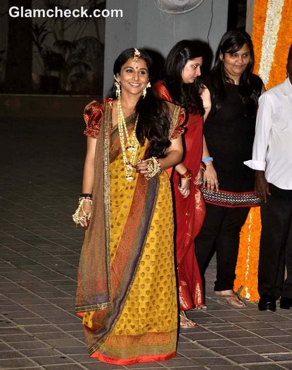 vidya balan mehndi ceremony sabyasachi sari pictures