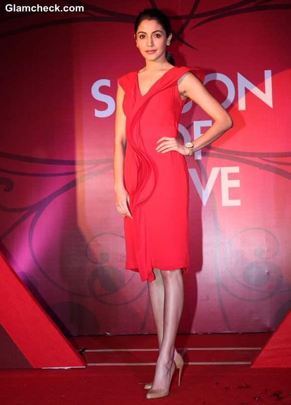 Anushka Sharma red dress At Collection Launch of Gitanjali Season Of Love