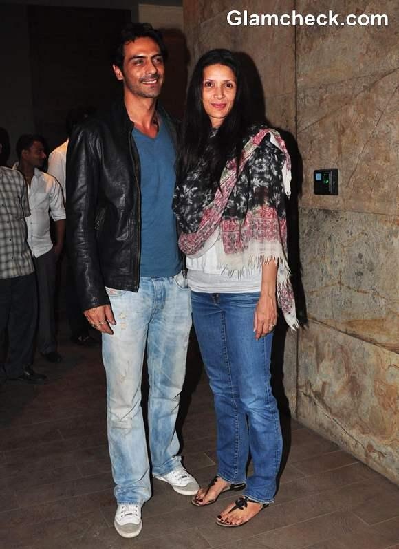 Arjun Rampal with wife Mehr Jesia Inkaar Screening