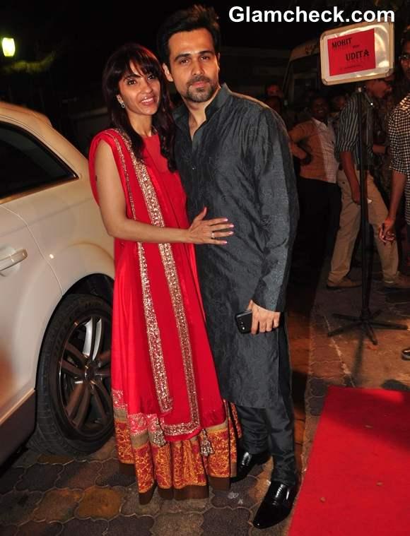 Bollywood actor Emraan Hashmi with wife Parveen Shahani at Mohit Suri Udita Goswami wedding