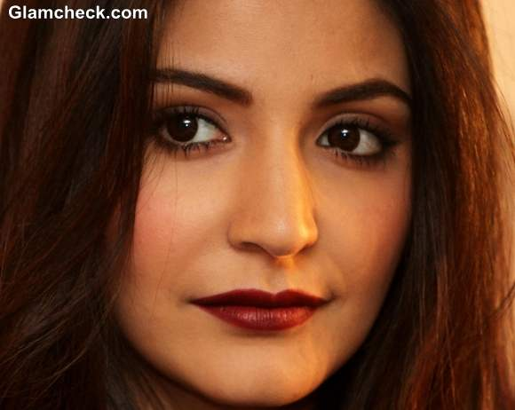 DIY Anushka Sharma Winter Makeup burgundy lips