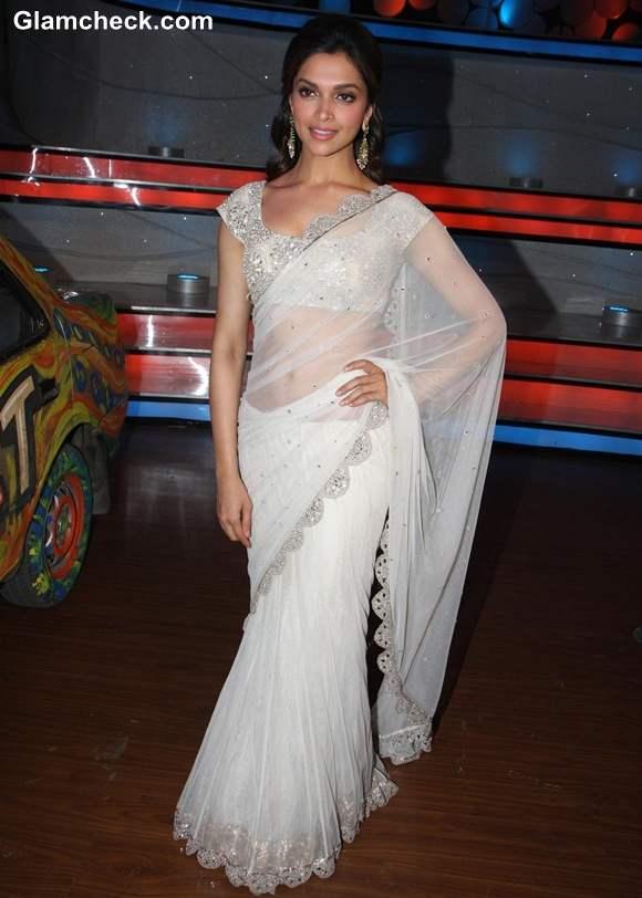 Deepika Padukone in white sari 2013 Promotes Race 2 on Nach Baliye 5