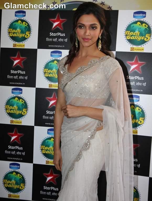 Deepika Padukone in white sari 2013