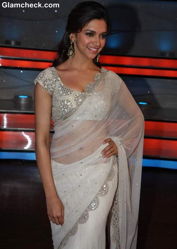 Deepika Padukone sexy in white sari 2013 Promotes Race 2 on Nach Baliye 5