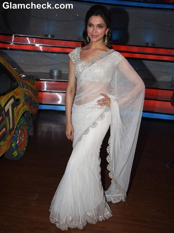 Deepika Padukone white sari 2013 on Nach Baliye 5