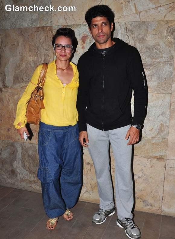 Farhan Akhtar with wife Adhuna Akhtar Inkaar Screening