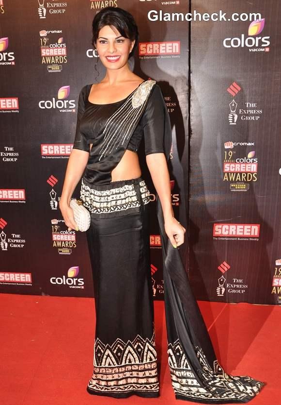 Jacqueline Fernandez in sri lankan sari 2013 Annual Colors Screen Awards