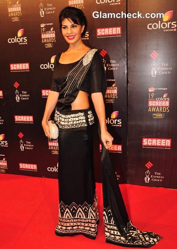 Jacqueline Fernandez sri lankan sari 2013 Annual Colors Screen Awards
