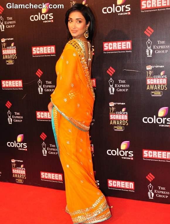 Jiah Khan in Mango Orange Sari at 19th Annual Colors Screen Awards