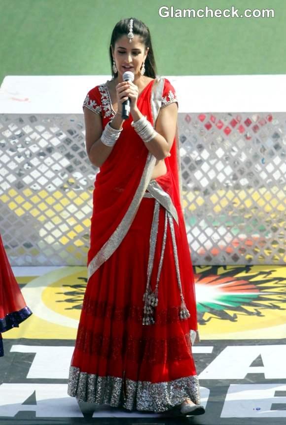 Katrina Kaif in Red lehenga at Hockey Match in Lucknow