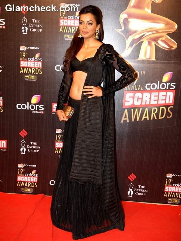 Mugdha Godse black lehnga At The 19th Annual Colors Screen Awards